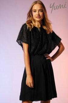 Yumi Textural Drape Dress with a Panel Skirt