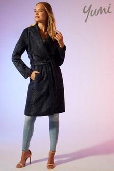 Yumi Zig Zag Patterned Wrap Coat