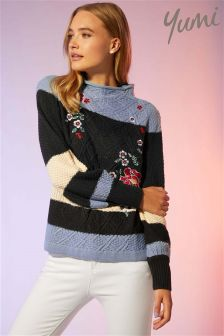 Yumi Striped Floral Embroidered Jumper