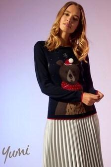 Yumi Embellished Bear Christmas Jumper