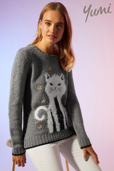 Yumi Sequin Embellished Cat Christmas Jumper