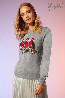 Yumi Sequin And Embroidered Robin Christmas Jumper