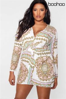 Boohoo Plus Knot Front Dress