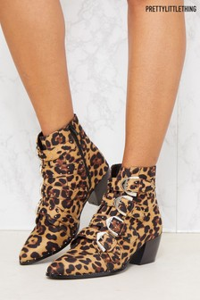 PrettyLittleThing Leopard Western Buckle Ankle Boots
