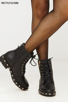 PrettyLittleThing Studded Biker Boots