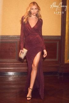 Abbey Clancy x Lipsy Glitter Wrap Maxi Dress