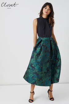Closet Collar Full Skirt Midi Dress