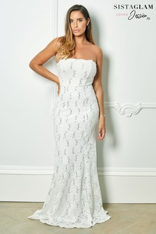 Sistaglam Loves Jessica Rose Bandeau Sequin Lace Bridal Fishtail Maxi Dress
