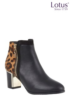 Lotus Heeled Ankle Boots