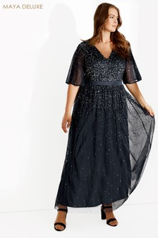 Maya Curve Scattered Sequin Maxi Dress