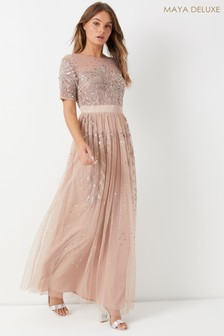 Maya Petite Embellished Short Sleeve Ruffle Hem Maxi Dress