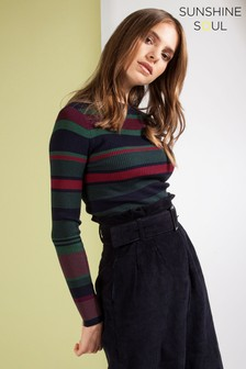 Sunshine Soul Striped Polo Jumper