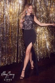 Abbey Clancy x Lipsy Sequin Cornelli Artwork Maxi Dress