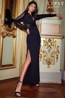 Lipsy Long Sleeve Sequin Plunge Maxi Dress