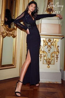 Abbey Clancy x Lipsy Tall Long Sleeve Sequin Plunge Maxi Dress