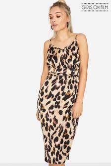 Girls On Film Animal Print Strappy Midi Dress