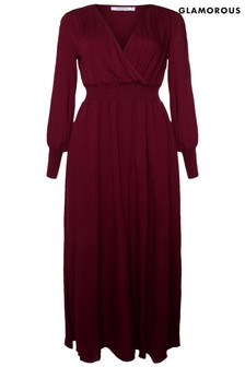 Glamorous Curve V neck Midi Dress