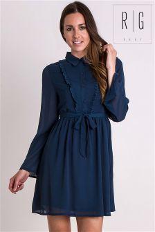 Madam Rage Frill Chiffon Shirt Dress