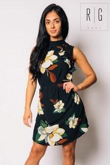 Madam Rage Floral Print Frill Wrap Dress