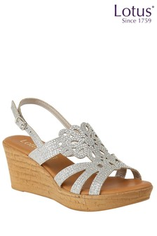 Lotus Diamanté Cork Effect Wedge Heel Sandals
