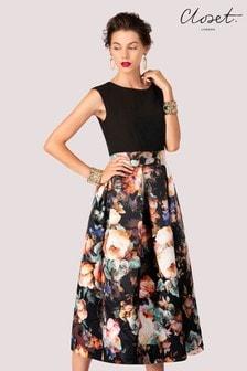 Closet Pleated Skirt Skater Dress