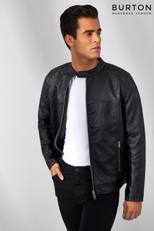 Burton Black Leather Look Biker Jacket