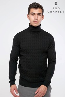2nd Chapter Roll Neck Cable Knit Jumper