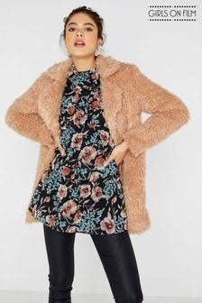 Girls On Film Faux Fur Coat