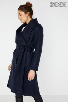 Girls On Film Longline Plain Belted Coat