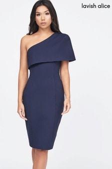 Lavish Alice One Shoulder Cape Midi Dress