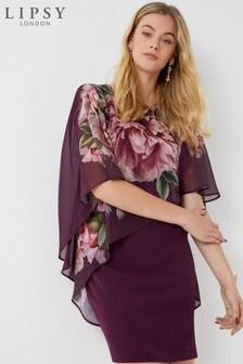 Lipsy Amelie Print Chiffon Overlay Shift Dress