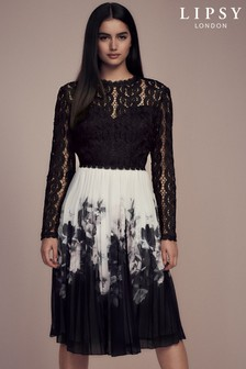Lipsy Lace Top 2 in 1 Pleated Skirt Midi Dress