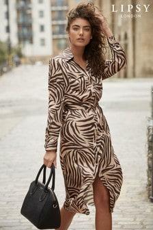 Lipsy Zebra Print Midi Shirt Dress