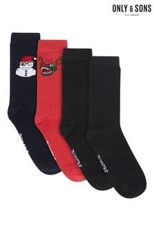 Only & Sons Pack of 4 Christmas Socks
