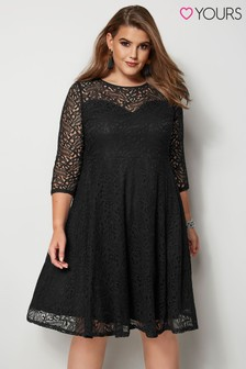 Yours Curve Lace Sleeve Skater Dress