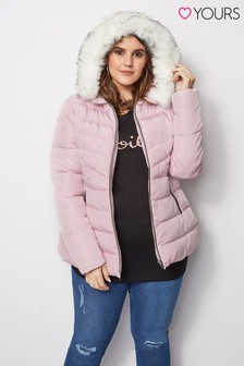 Yours Short Padded Faux Fur Trim Hood Jacket