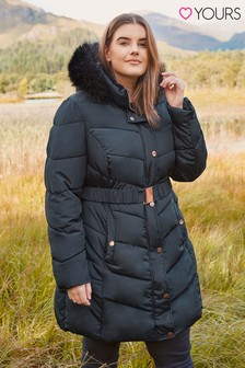 Yours Curve Padded Faux Fur Trim Jacket