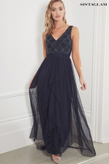 Sistaglam Embroidered Chiffon Skirt Maxi Dress