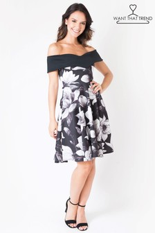 Want That Trend Floral Bardot Dress