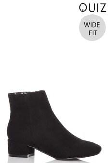 Quiz Wide Fit Faux Suede Ankle Boots