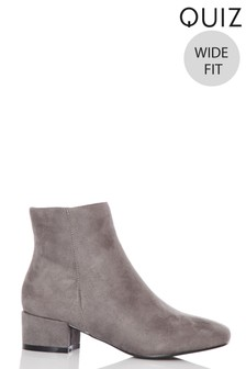 Quiz Wide Fit Faux Suede Ankle Boot
