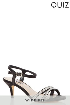 Quiz Wide Fit Satin Diamanté Low Heeled Sandal