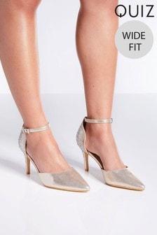 Quiz Satin Wide Fit Diamanté Heeled Court Shoes