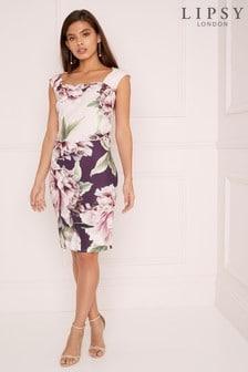 Lipsy Amelie Print 2 Tone Bodycon Dress