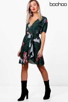Boohoo Ruffle Tea Dress