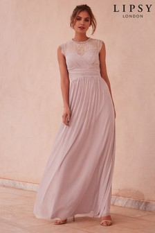 Lipsy Elsa Mesh Maxi Dress with Lace Sleeve