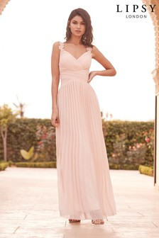 Lipsy Bridal Flower Strap Pleated Dress