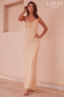 Lipsy Olivia Hand Embellished Sequin Cowl Neck Maxi Dress