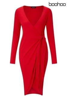 Boohoo Maternity Long Sleeve Wrap Dress