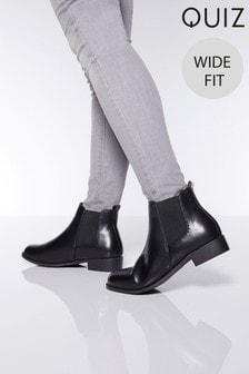 Quiz Wide Fit PU Diamanté Chelsea Boot